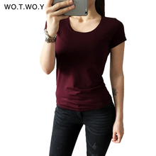 High Quality 21 Candy Color Cotton Basic T-shirt Women Casual O-neck Female T Shirt For Women Short Sleeve Female Tops 001