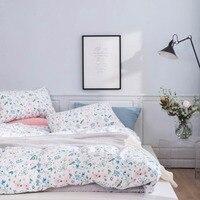 2019 Blue Pink Flowers Scandinavian Bedding Set Duvet Cover 4pcs Twin Queen King Flat Sheet Wash Cotton Bedlinens Pillowcases