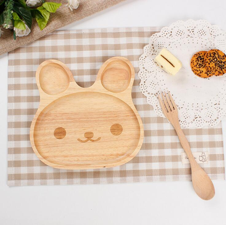 Rabbit Shape 1 PC Wooden Dinner Plate Bowl without Spoon Wood Bunny Design Baby Dinnerware Set Baby Feeding Service Plate 324