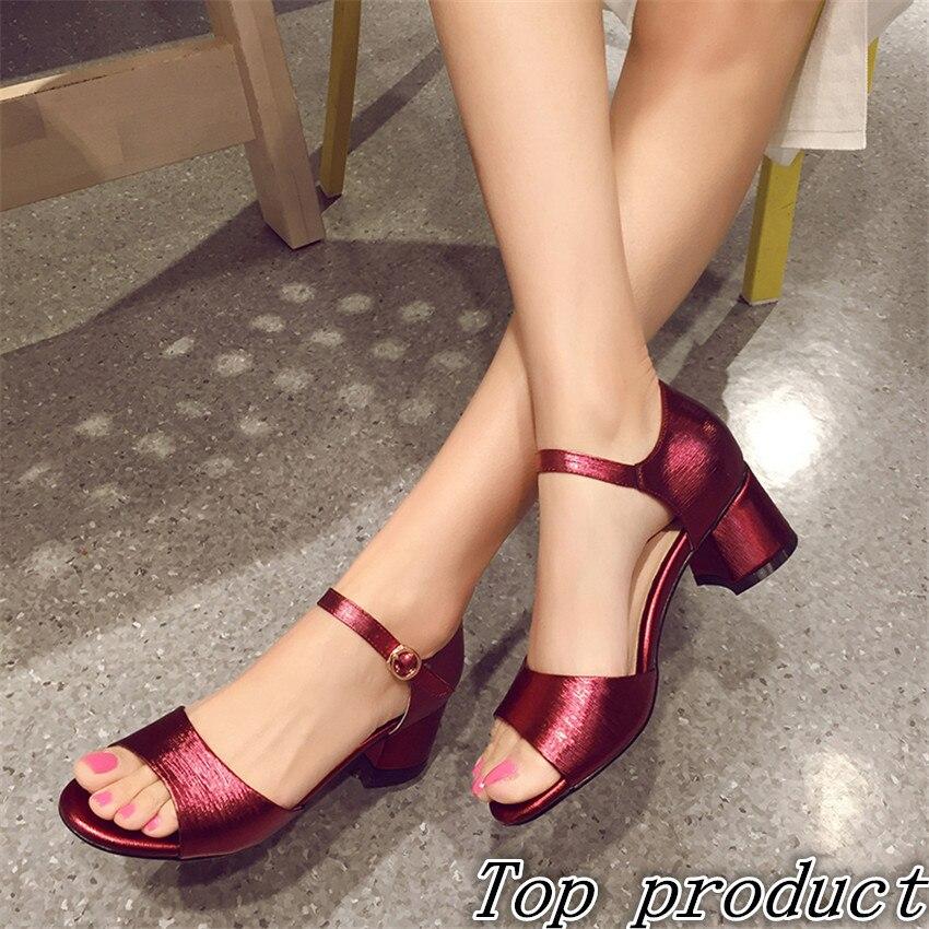 ФОТО Genuine Leather Women Sandals High Heels Peep Toe Pumps Summer Shoes Woman High Heel Sandals Plus Size 34 - 40 41 42 43