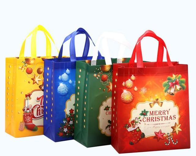 non woven holiday gift bags reusable christmas gift handbag holders tote xmas party favor bag