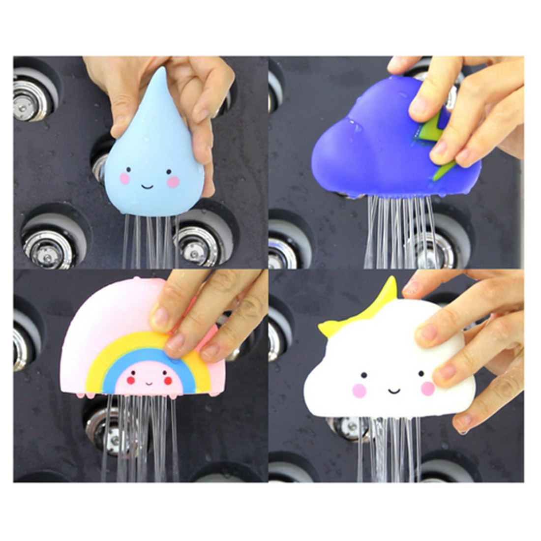 4 In 1 White Cloud Thundercloud Rainbow Raindrops Children Toys Bathroom Floating Water Bath Toy for Kids