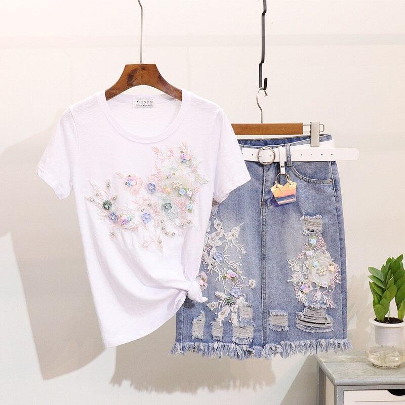 Taotree femmes été 3D fleur brodé t-shirts + trou Denim Jeans jupe costume