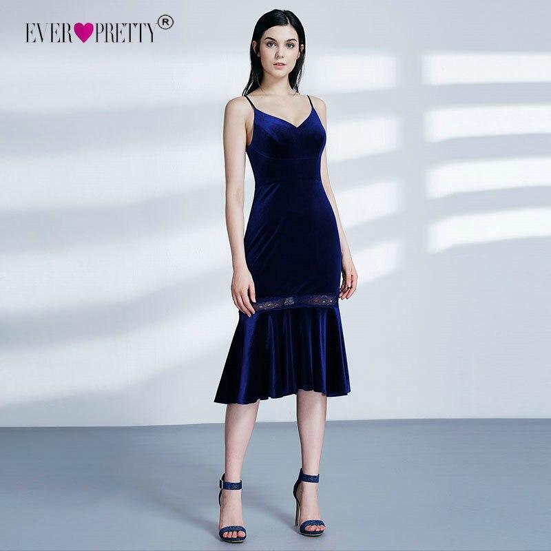 Бархатные вечерние платья Ever Pretty 07331 детское платье силуэта «русалка», без рукавов, темно-синий, пикантный осень-зима случаю вечерние платья