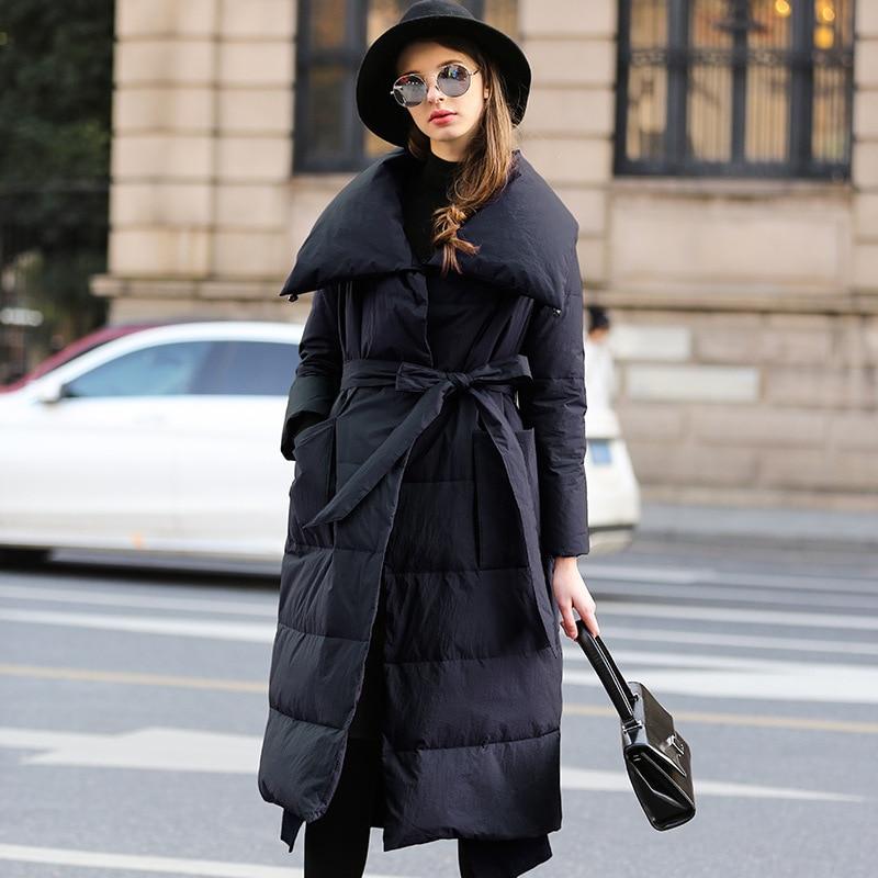 Black Qualité Duvet Manteau D'hiver burgundy De Haute Veste Ceinture Outwear Épaisse Blanc Canard Vestes Femmes Nouvelle Parkas Luxe E27 Longues Avec Lâche qwFagRwvx