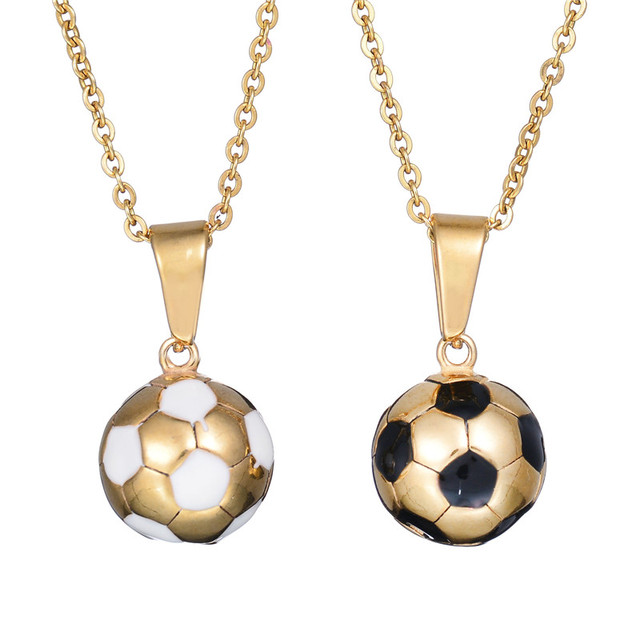 New hot enamel jewelry stainless steel soccer necklace gold color new hot enamel jewelry stainless steel soccer necklace gold color football charm pendants colar mozeypictures Image collections