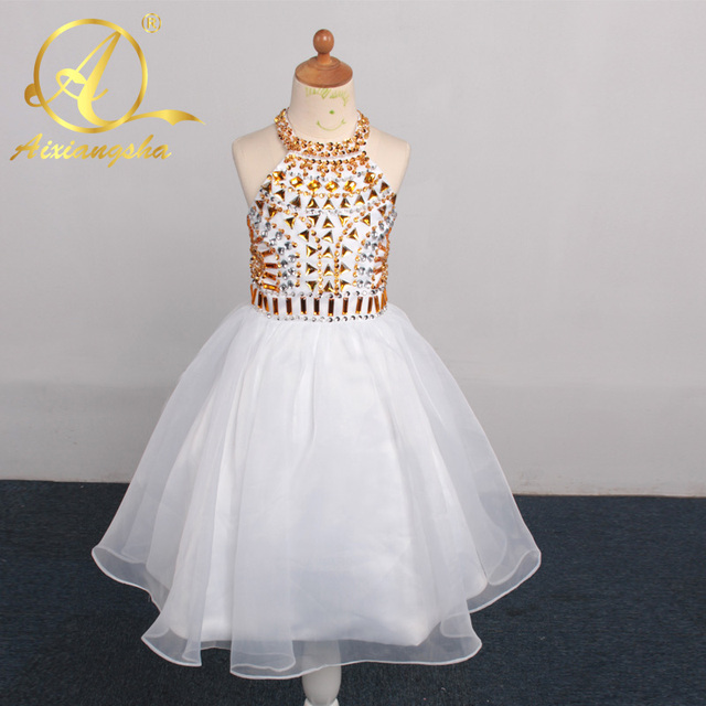 White Halter Ball Gowns Flower Girl Dresses For Wedding 2017 Beautiful Gold Beaded Kids Pageant Dress