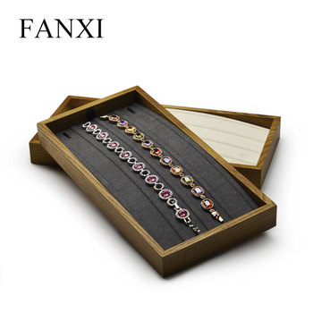 Fanxi Jewelry Display Tray with Microfiber Pendant Ring Tray Wood Necklace Earring Display Stand for Showcase Jewelry Organizer oirlv luxury silver gray jewelry display tray earring ring pendant necklace display tray holder jewelry showcase box organizer