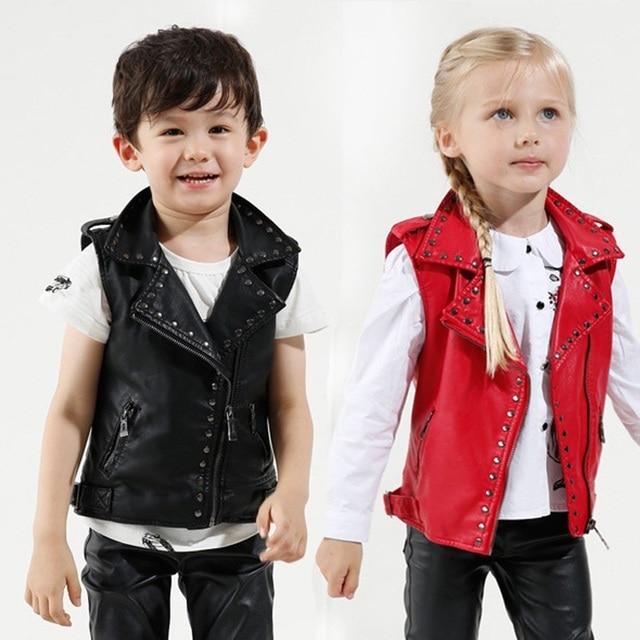eca3cbf65 Children s Coat Baby Boy and Girl PU Leather Jacket Lapel Biker ...