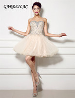 Gardlilac Sweetheart Sleeveless Short Homecoming Dress Tulle Beaded Champagne Short party Dress