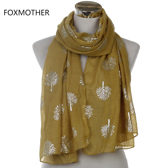 Dropshipping 2019 New Spring Summer Fashion Ladies White Navy Bronzing Silver Metallic Tree Glitter Scarf Scarves Gifts 1