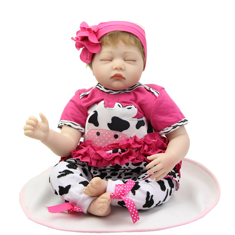 Fashion Reborn Babies Girl Doll 22 Inch Soft Silicone lifelike Newborn Baby Dolls Kids Chirstmas Birthday Gift handmade 22 inch newborn baby girl doll lifelike reborn silicone baby dolls wearing pink dress kids birthday xmas gift