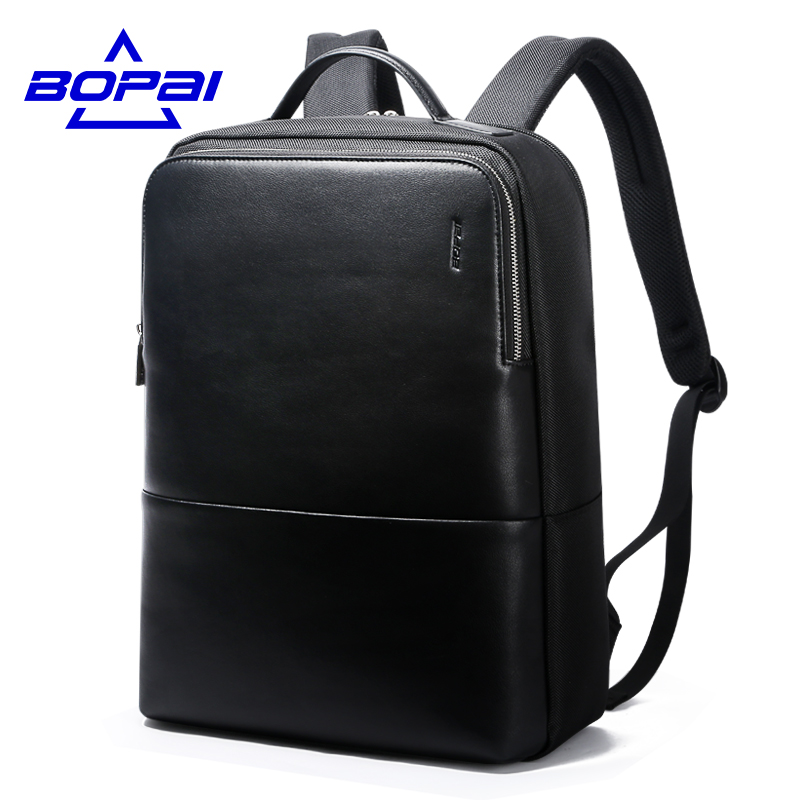 2017 BOPAI Cool Mens Backpacks Man Rucksack 14 Inch Laptop Bag Student Schoolbags Men Travel Leather Backpack Bags Black bagpack new canvas backpack travel bag korean version school bag leisure backpacks for laptop 14 inch computer bags rucksack