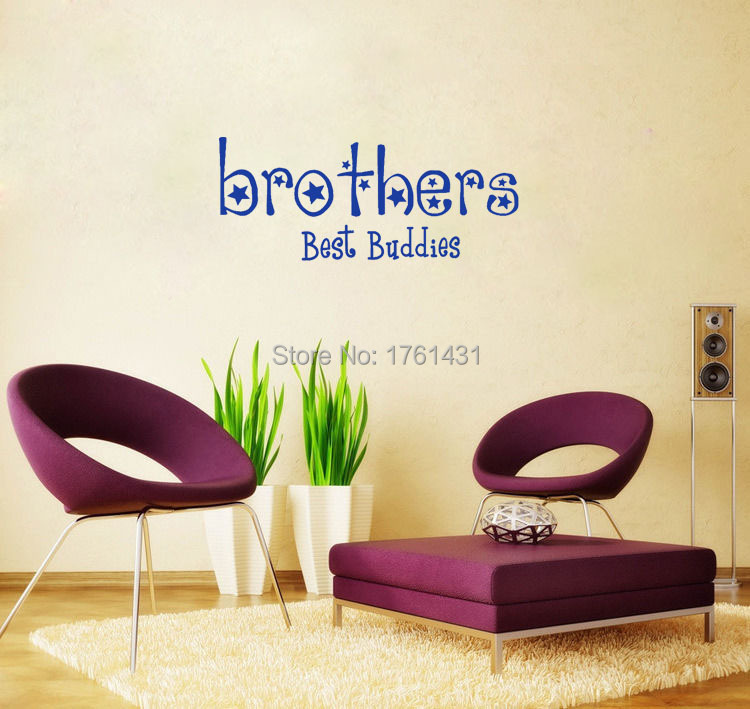 Brothers are buddies wall decals vinyl stickers home decor living room wall pictures kids room Home decor line wall stickers
