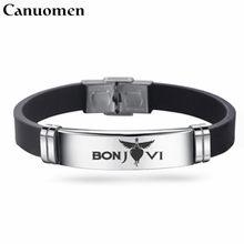 183a65dede3f Canuomen nueva llegada Bon Jovi pulsera famosa banda de Rock pulseras  negras regalos de moda para hombres pulsera ajustable homb.