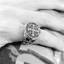 Поддержка дропшиппинг новое поступление 316L нержавеющая сталь католическая церковь Святого Бенедикта Нурсийского христианский Иисус Изгоняющее кольцо