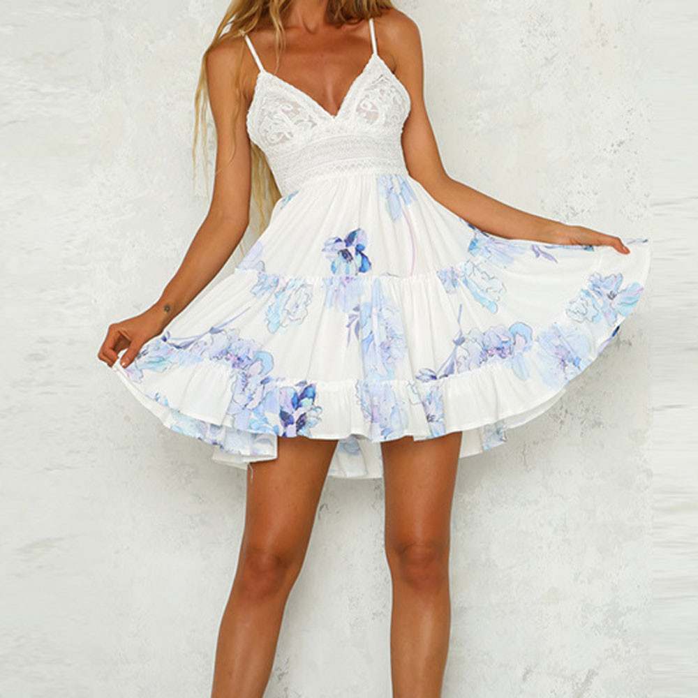 Beach-Dress White Womens Summer Backless Evening-Party Vintage Mini Young