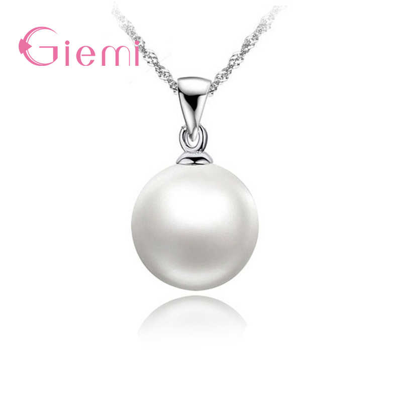 Classic Romantic Simple Round White Pearls 925 Sterling Silver Pendant Necklace For Women Bridal Wedding Accessories