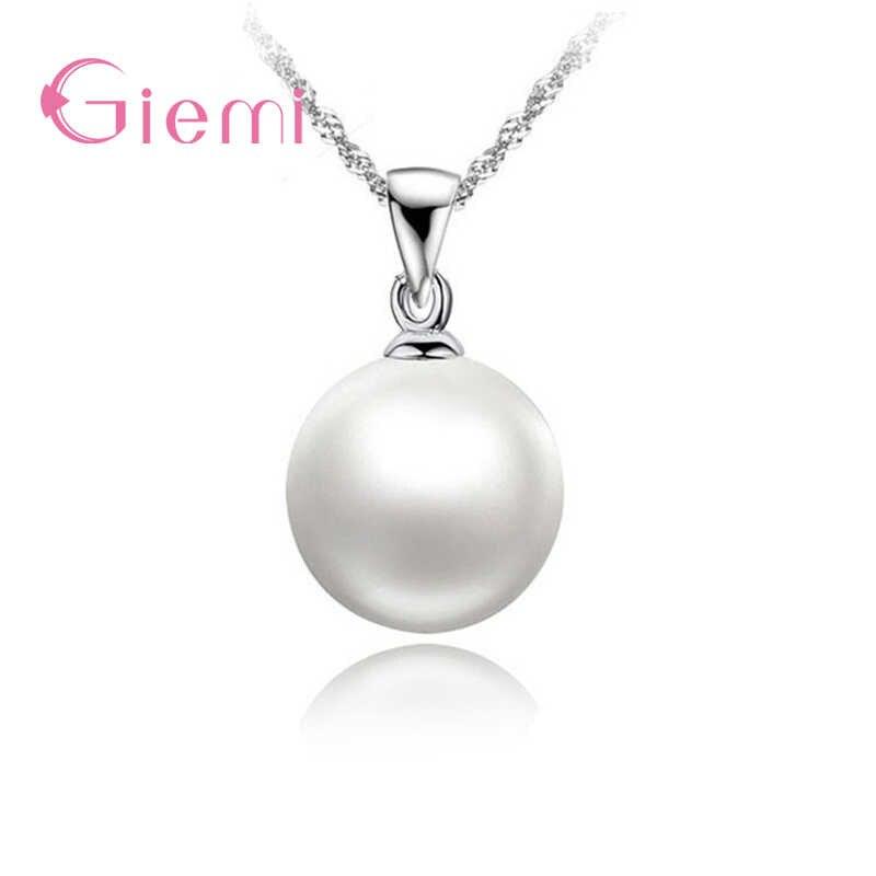 Klassische Romantische Einfache Runde Weiß Perlen 925 Sterling Silber Anhänger Halskette Für Frauen Braut Hochzeit Zubehör