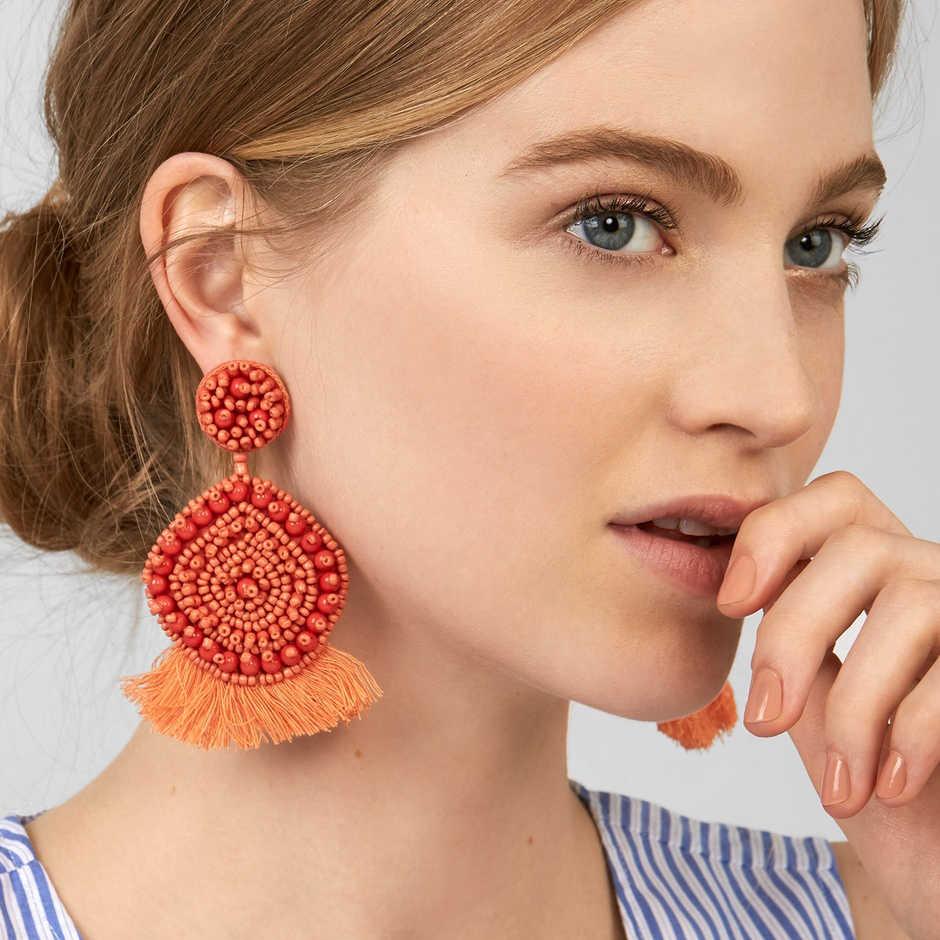 Jujia 2019 Thiết Kế 10 Màu Sắc Mới Nóng Nữ Thời Trang Mới Đến Thương Hiệu Pha Lê TUA RUA HẠT Bông Tai Hoa