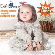 GOTS organic 100% cotton infant baby child kids anti kicking foot sleeping bag with Detachable slv for Winter spring and fall