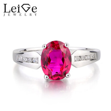 Leige Jewelry July Birthstone Lab Ruby Ring Wedding Ring Oval Cut Red Gemstone Ring Real 925 Sterling Silver Ring for Girlfriend