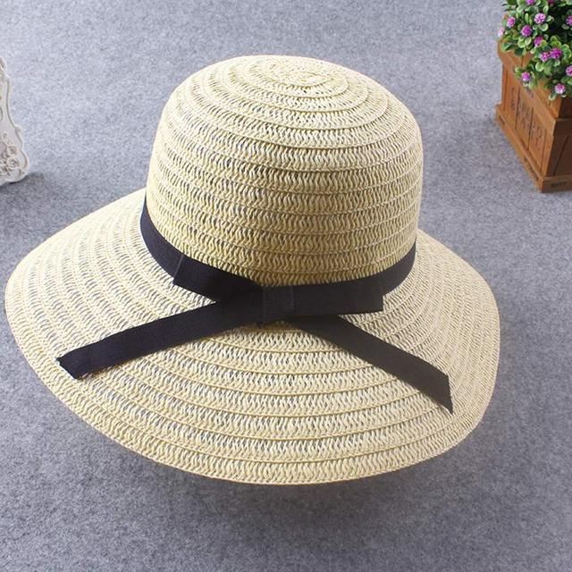 Mulheres Moda Praia Sol Cap chapéu de Palha 9.5 cm 3.7 polegada Disquete  Sol Cinto 829c9c2c037