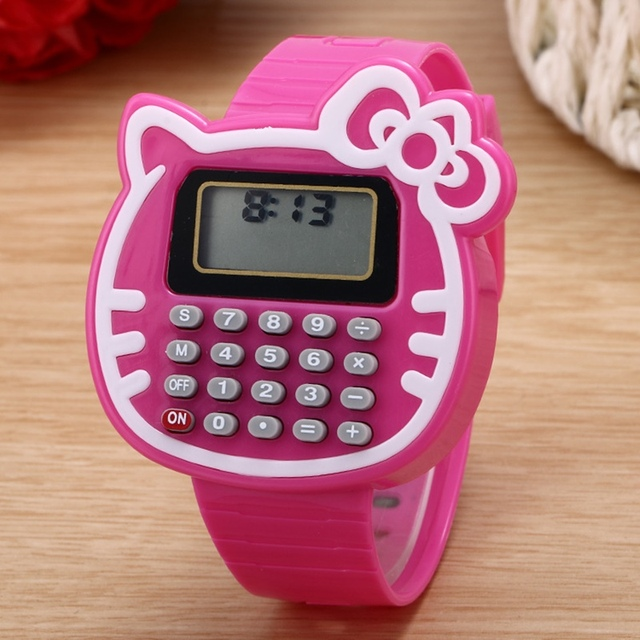 Cartoon Kitty Cat Children's Watch Calculator Watch Boy Or Girl Student Learning