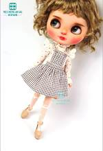 Clothes for doll fits Blyth Azone 1/6 doll accessories fashion Brown plaid strap skirt, lace shirt(China)