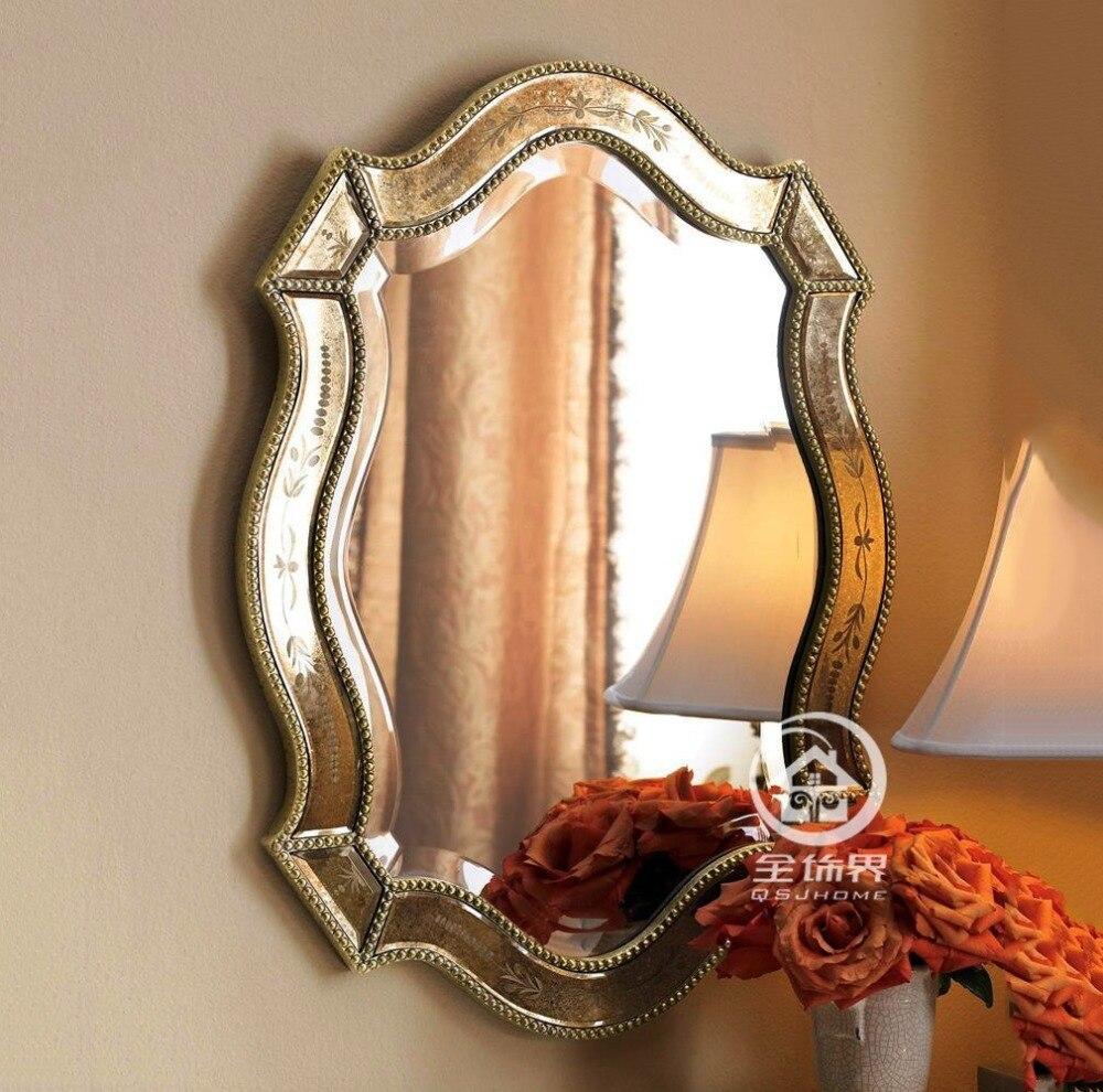 Finition Antique de mur de vanité en verre miroir mural décoratif miroir art console miroir M-F2097