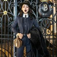 Le palais Винтаж 2018 Вт Hansome полосатый Блейзер жилет брюки 3 шт. женские костюмы Винтаж Англия дышащая ткань женские костюмы