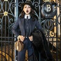 le palais vintage 2018W Hansome Striped Blazer Vest Pants 3 Pieces Women Suits Vintage England Breathable Fabric Women Suits