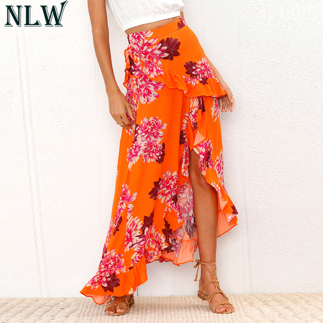 103e09e6ae NLW Coral Red Long Skirt Floral Print Asymmetrical Maxi Skirt Summer Ruffle Wrap  Skirt 2019 Women Sexy Elegant Girl Chic Vestido
