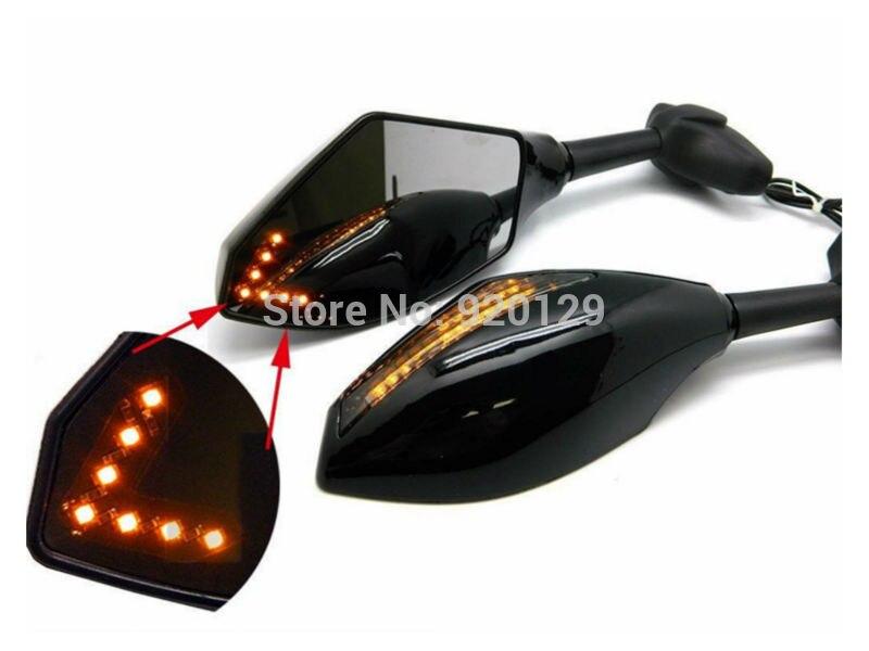 Noir Moto Racing Sport Bike LED Clignotants Lumière Rétroviseur Pour Suzuki Kawasaki Honda Yamaha Triumph Ducati