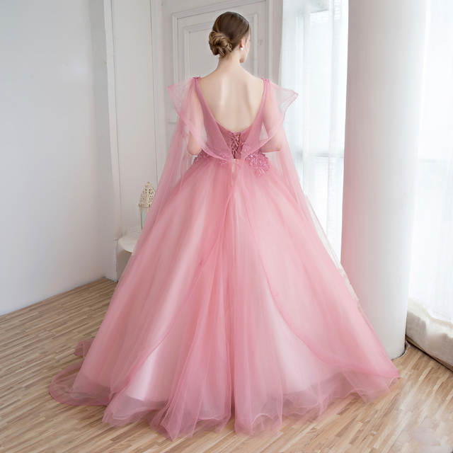 placeholder Gorgeous Real Dusty Pink Prom Dresses Ball Gowns Open Back  Applique Beaded Lace Tulle Illusion Party 2817066dd503