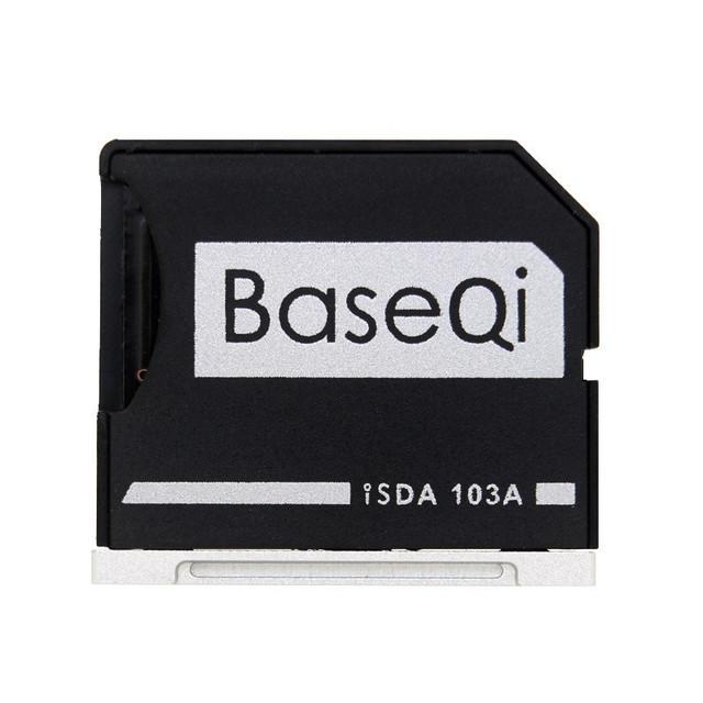 Minidrive baseqi alumínio leitor de cartão de memória do adaptador de cartão micro sd para macbook air 13 ''model 103a