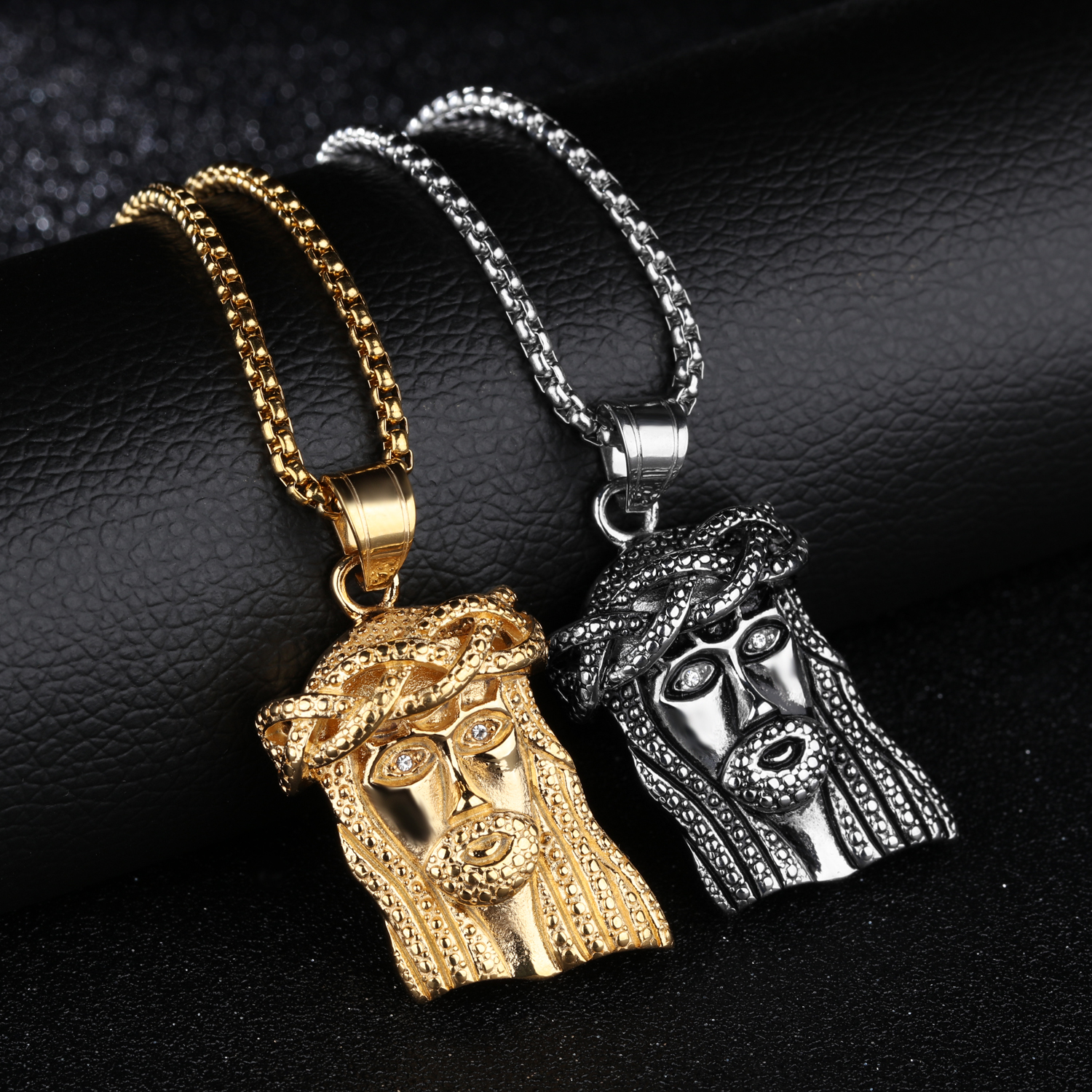 2018 Hot sale High Quality Vintage bling Zircon Surgical Steel Jesus Necklace Biker Fashion Jewelry For Men Steampunk Rock Style