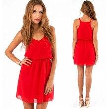 Fashion Summer Chiffion Dress Women Casual V Neck Beach Dress Sleeveless Mini Dresses Plus Size