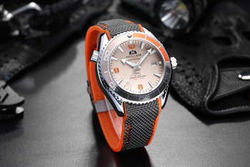 Men Automatic Self Wind Mechanical Canvas Rubber Strap James Bond 007 Style Orange Blue Red Rotatable Bezel Classic Watch Men Brands