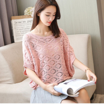 Thin Summer Women Pullover Short Sleeve Hollow Out Crochet Sweater Loose Ladies Sweater Jumper Tops Knit Causal Round Neck Top cut out neck back knit top