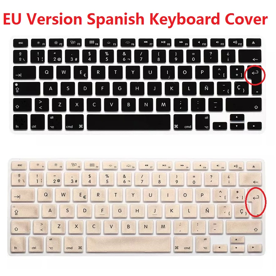 EU Euro Spanish Keyboard Cover 2PCS Version ES ESP For Macbook Air Pro Retina 13 15 Silicone Bluetooth Laptop Skin Protector