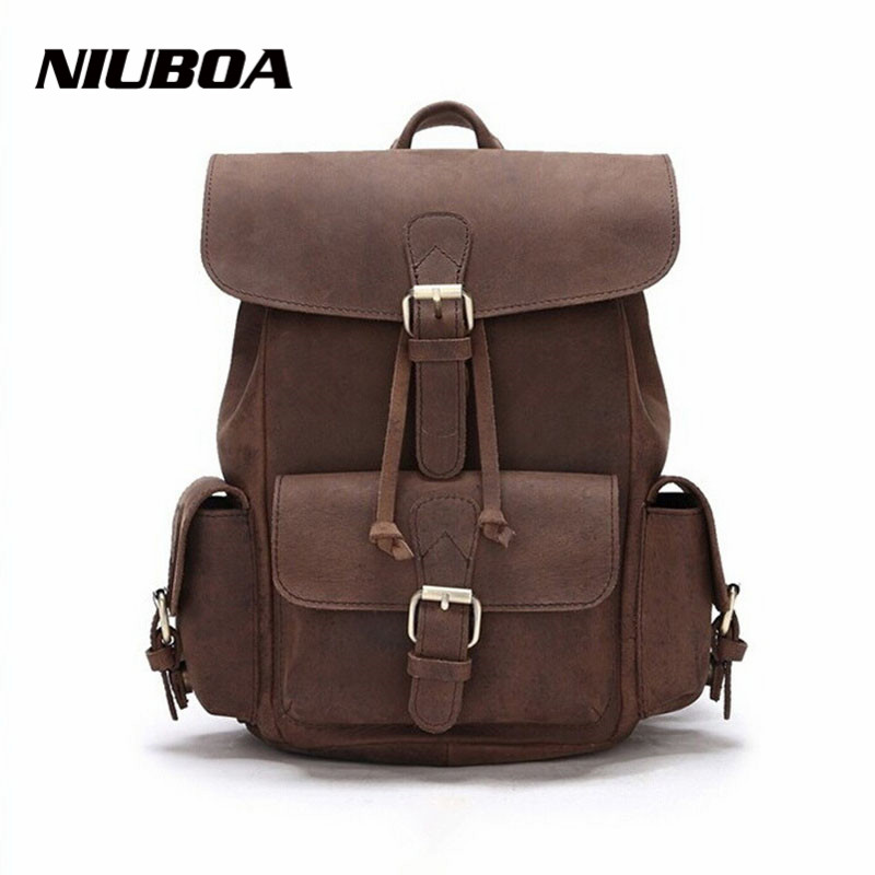 New 100% Natural Leather Backpacks Vintage Women Genuine Leather Backpack Girl Casual Hot School Bag High Quality Daily Back Bag stacy bag hot sale new arrival high quality women pu leather backpack sweet girl small vintage backpack pink beige black blue
