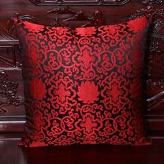 Винтажная квадратная большая подушка для дивана, стула, автомобиля, Высококачественная декоративная шелковая парчовая Подушка для спины 40x40 43x43 40x50 50x50 60x60 см - Цвет: Черный