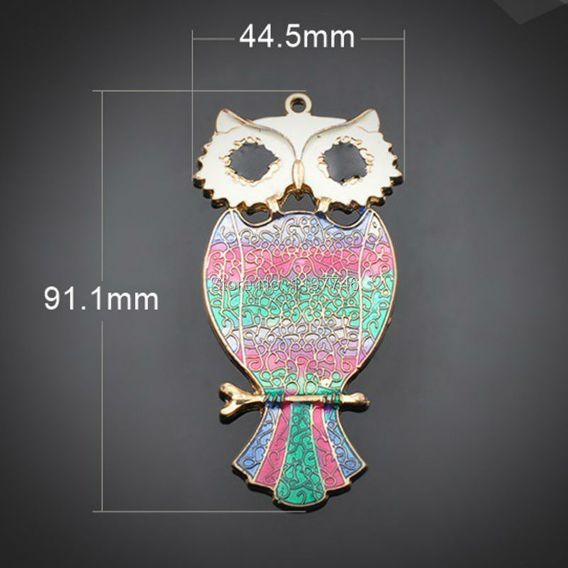 10PCS 44.5x91.1mm Antique Silver Plated Zinc Alloy Metal Charms Colorful Night Owl Diy Jewelry Accessories