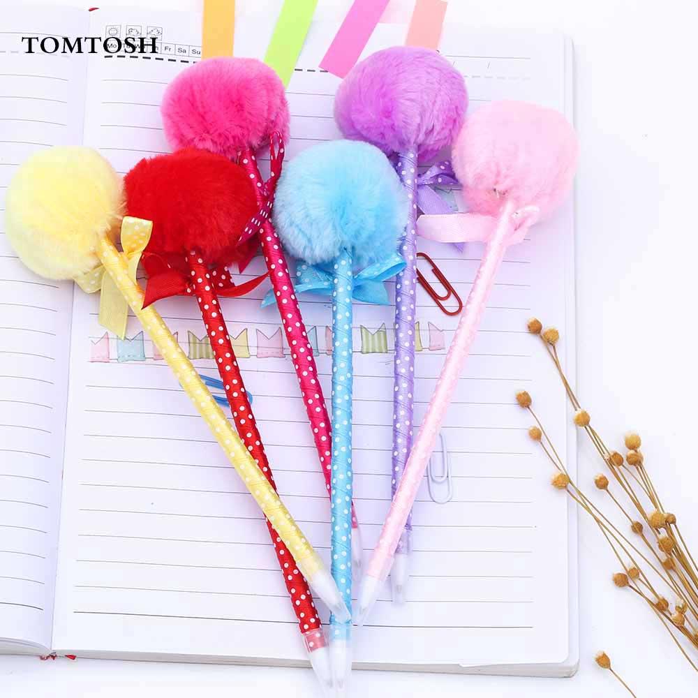 TOMTOS 1PcsStudent Prizes Creative Promotional Pens, Balls Plush Ballpoint Pen, Cute Ball-Point Pens School Supplies