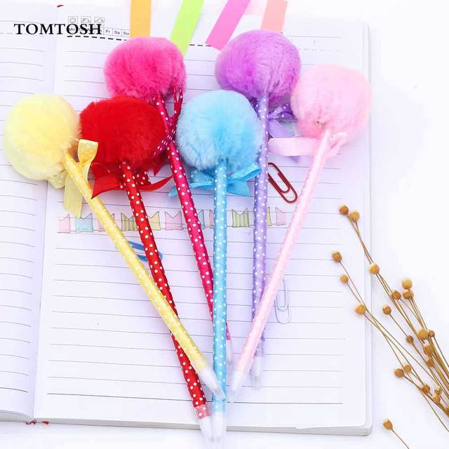 TOMTOS 1PcsStudent Prizes Creative Promotional Pens, Balls Plush Ballpoint Pen, Cute Ball-Point Pens School Supplies
