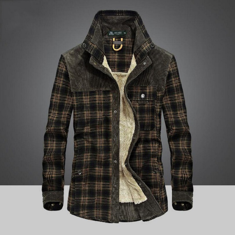 Hot Brand Shirt Men Winter Thick Warm Shirts 100% Cotton Fleece Plaid Long Sleeves Shirt Men Military Coat Camisetas Hombre