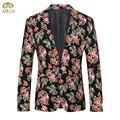 Tamanho grande Estilo Nacional Floral Blazer Masculino Slim Fit 4XL 3XL Roupas de Marca Blazer Homme Traje 2 Cor Preto Vermelho Dos Homens 2017