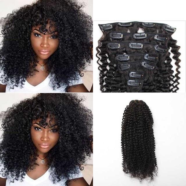 Clip In Human Hair Extensions 7pcs/set Brazilian African American Clip In Human Hair Extensions Clip Ins Curl