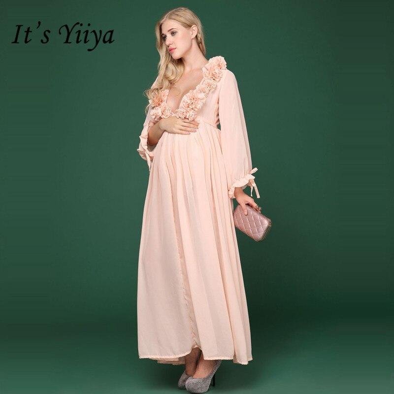 Это YiiYa глубокий v-образный вырез цветы платье для беременных съемки фото Однотонная одежда с длинными рукавами платья для беременных H164